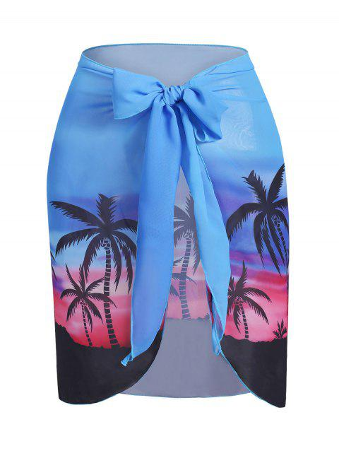 Plus Size Sunset Palm Tree Cover Up Skirt