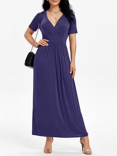 Side Pockets Maxi Surplice Dress