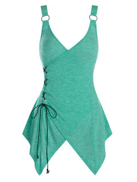 Asymmetric Lace-up O-ring Heathered Tank Top