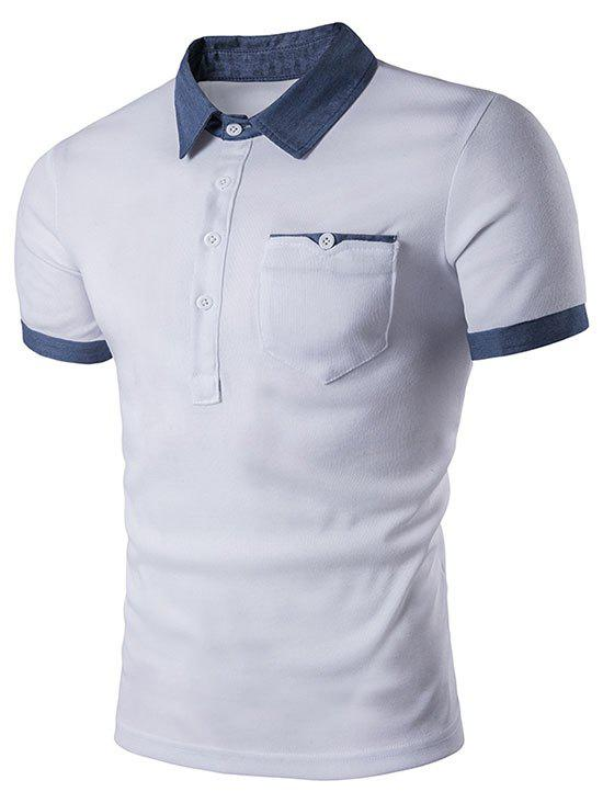 Contrast Patch Pocket Turn-down Collar T-shirt - WHITE M