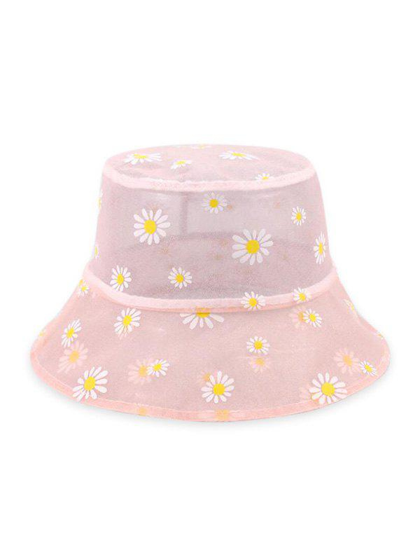Daisy Print Travel Breathable Bucket Hat - LIGHT PINK