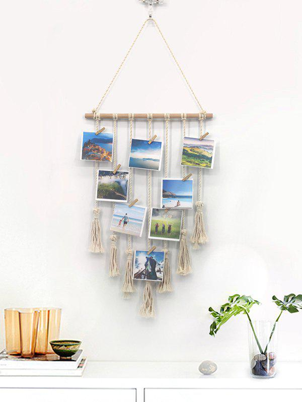 Home Decor Tasseled Macrame Wall Hanging Photo Holder with Clips - multicolor A