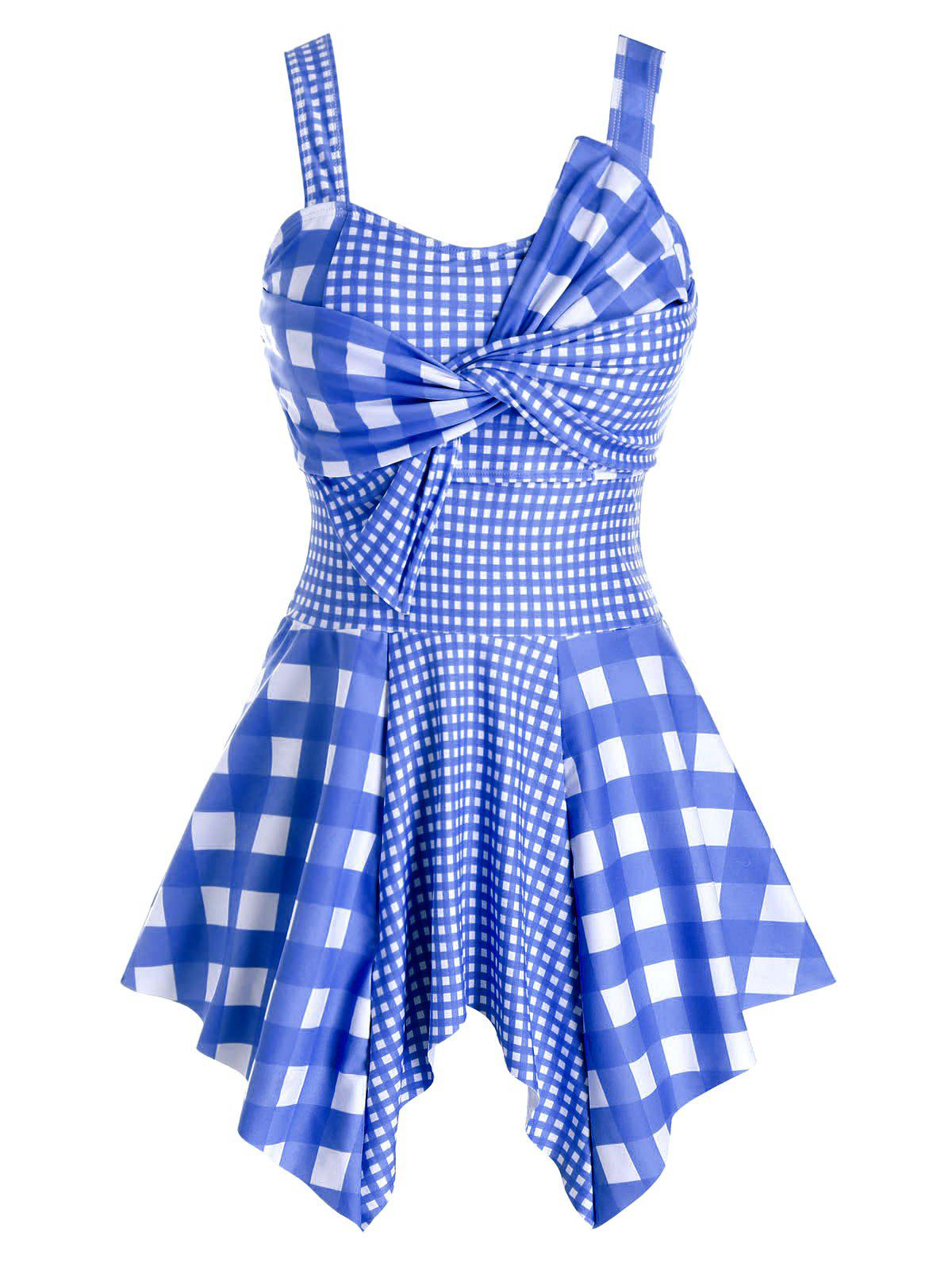 Plus Size Plaid Twisted Asymmetrical Tankini Swimwear - DEEP BLUE 5X