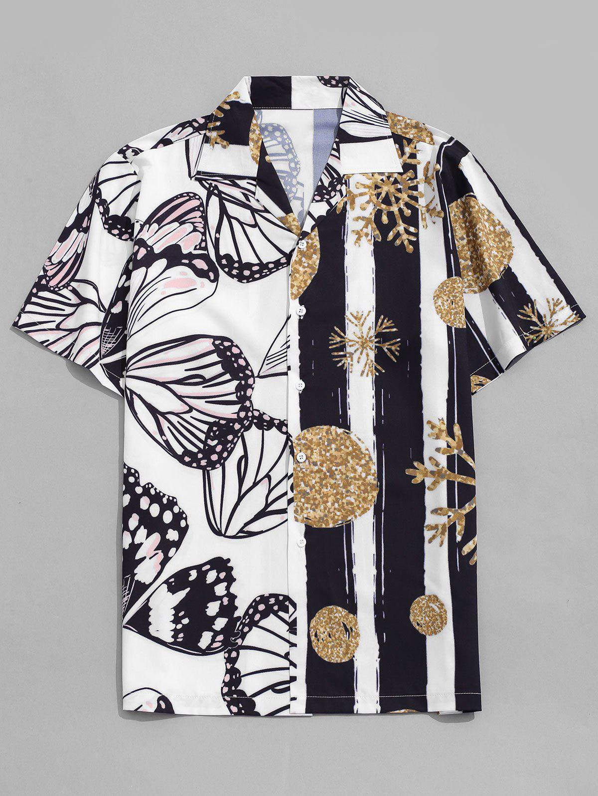 Snowflake and Butterfly Print Beach Shirt - WHITE M