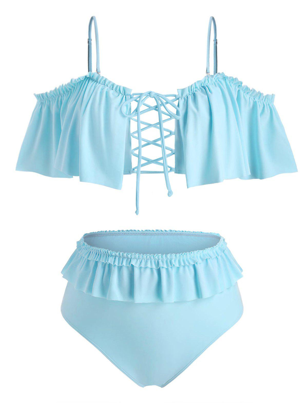 Plus Size Ruffled Lace Up Cold Shoulder Two Piece Swimwear - DAY SKY BLUE 4X