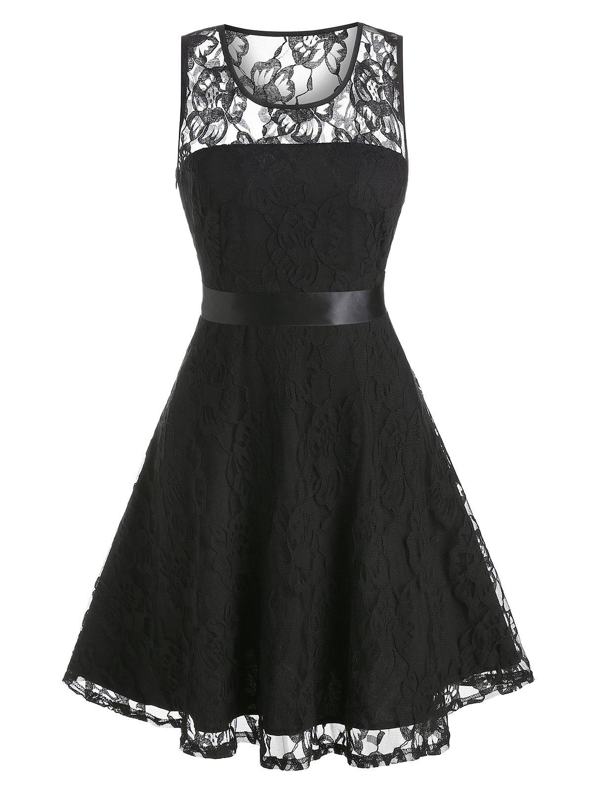 Floral Fit And Flare Lace Party Dress - BLACK 2XL