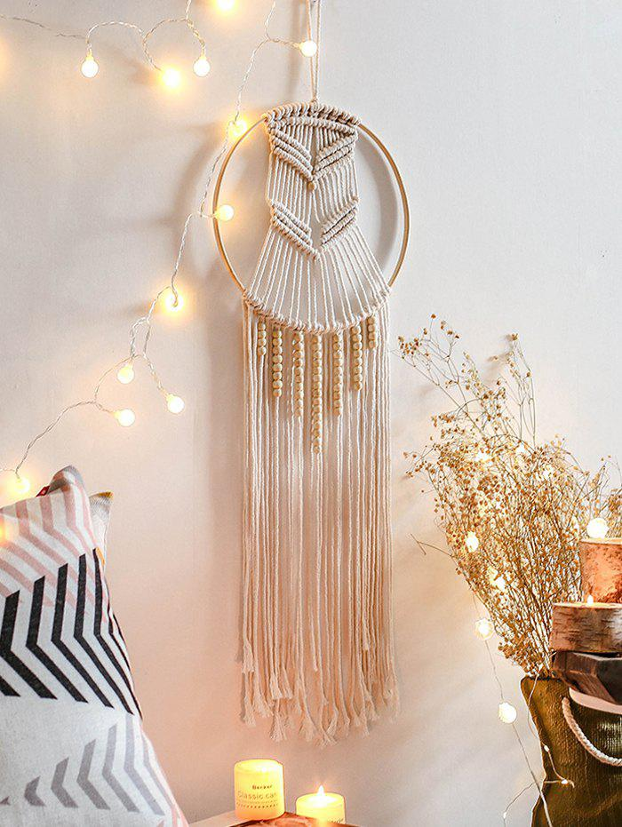 Home Decor Circle Beaded Macrame Wall Hanging - WARM WHITE