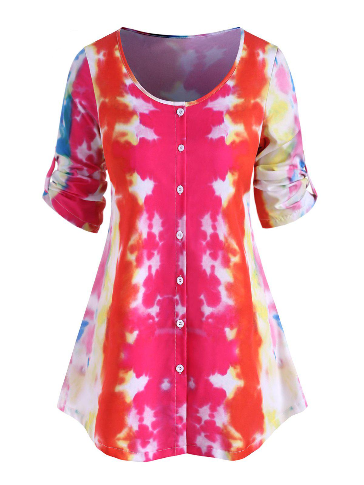Plus Size Button Up Tie Dye Blouse - RED 1X
