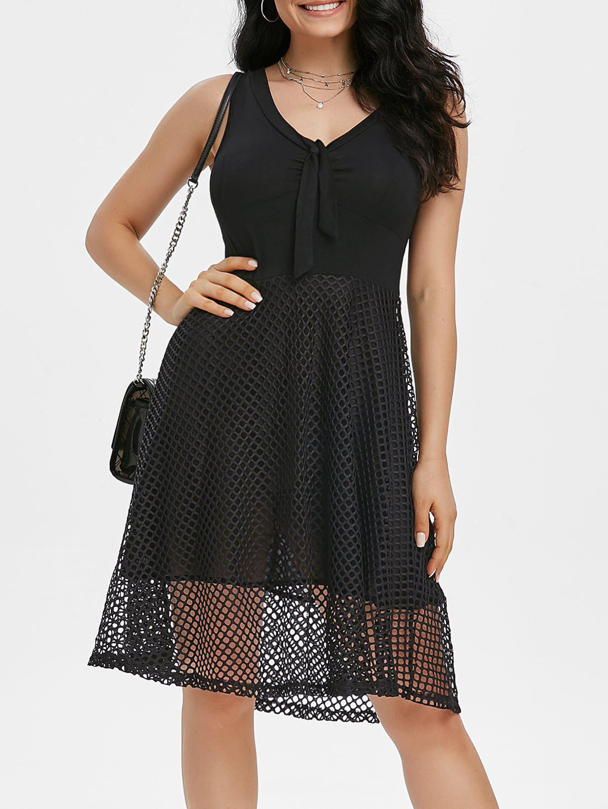 Knot Fishnet Overlay A Line Dress - BLACK 2XL