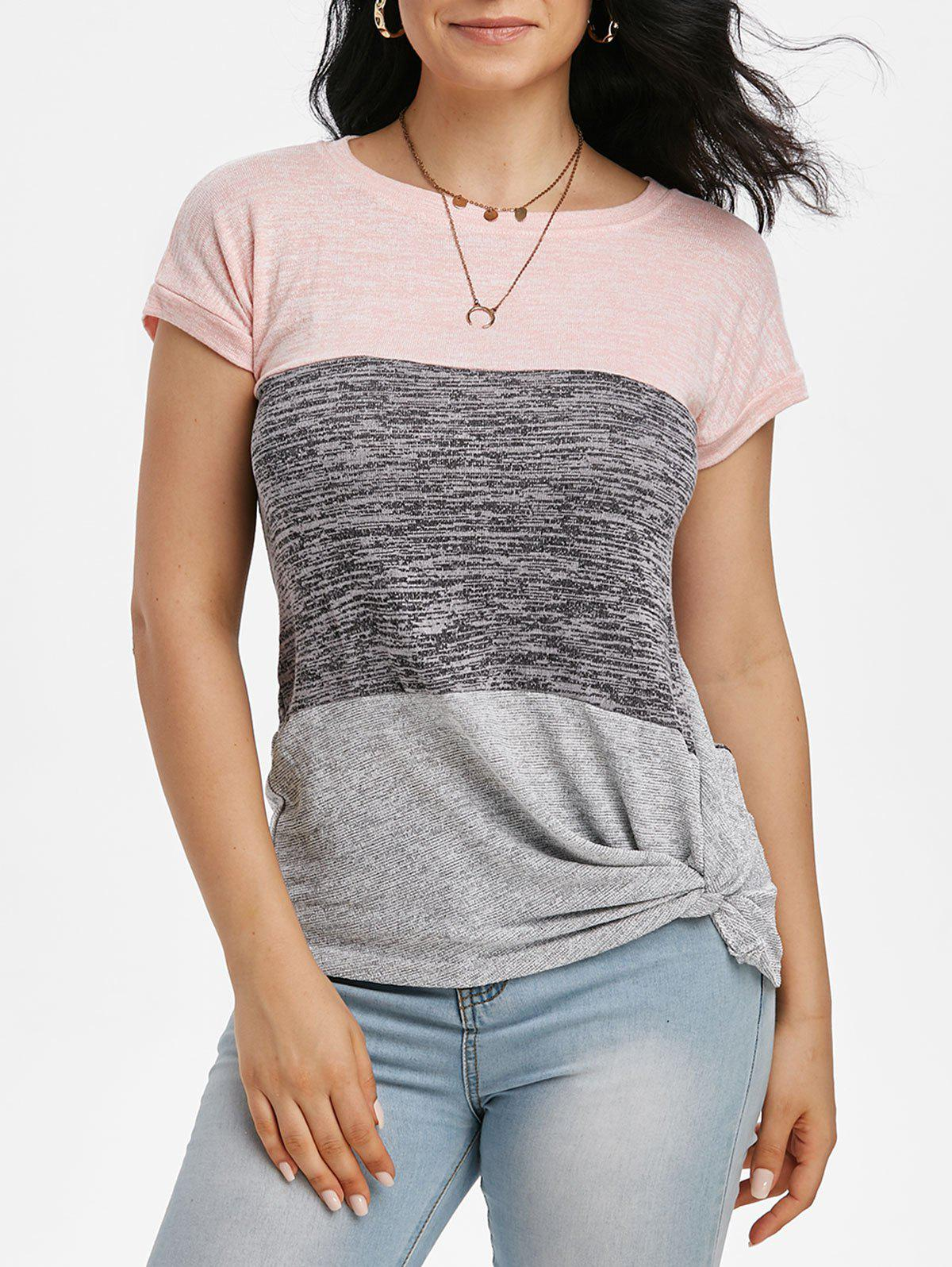 Colorblock Batwing Sleeve Twisted T-shirt - LIGHT PINK M