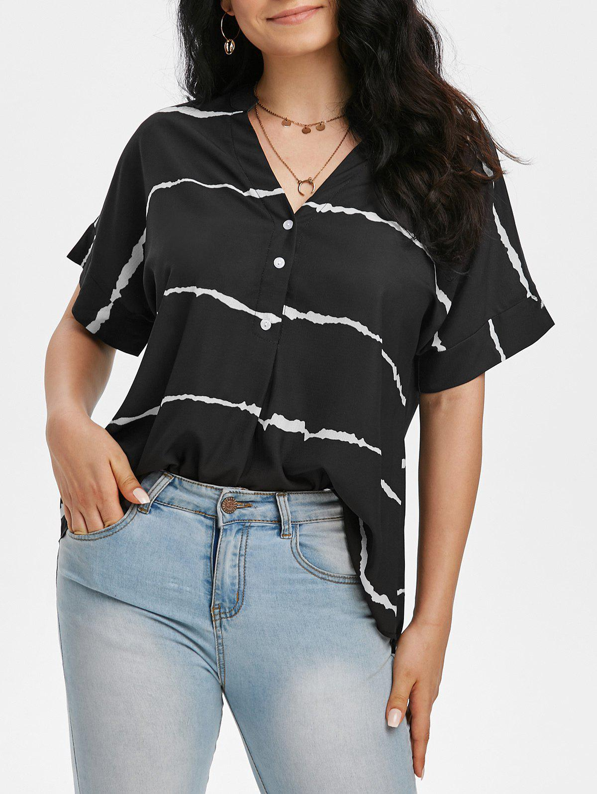 Striped Batwing Sleeve V Neck High Low Blouse - BLACK S