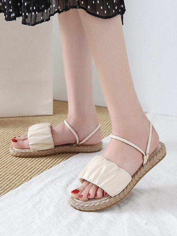 Ruched Leather Convertible Strap Flat Sandals - BEIGE EU 38
