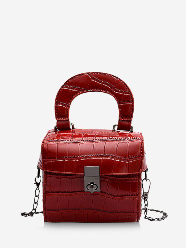 Animal Embossed Hasp Mini Tote Bag - RED WINE