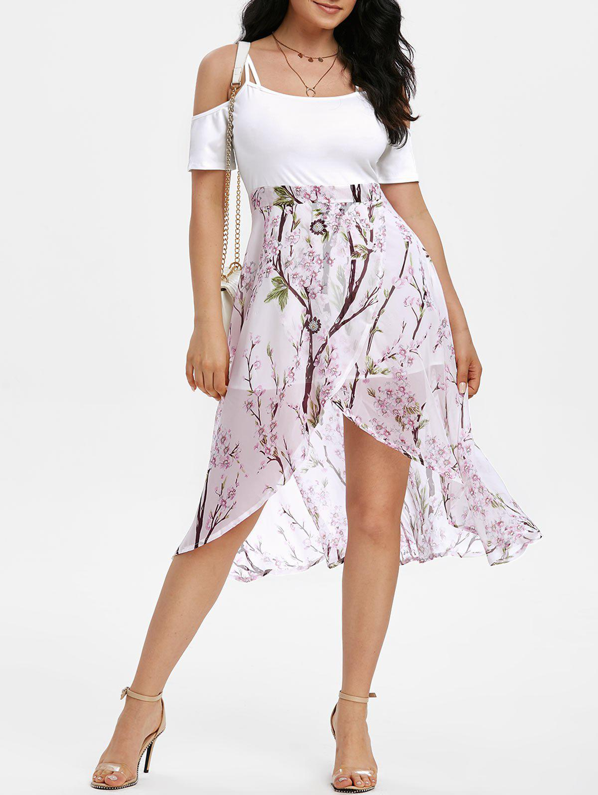Floral Cold Shoulder High Low Dress - WHITE M