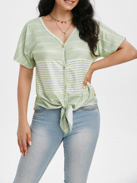Striped Knotted Button Front Tunic Raglan Sleeve Tee