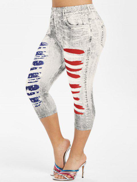 Plus Size American Flag 3D Ripped Print Jeggings