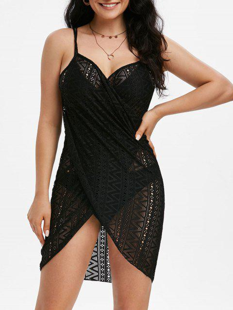 Zigzag Lace Mini Cover Up Wrap Dress