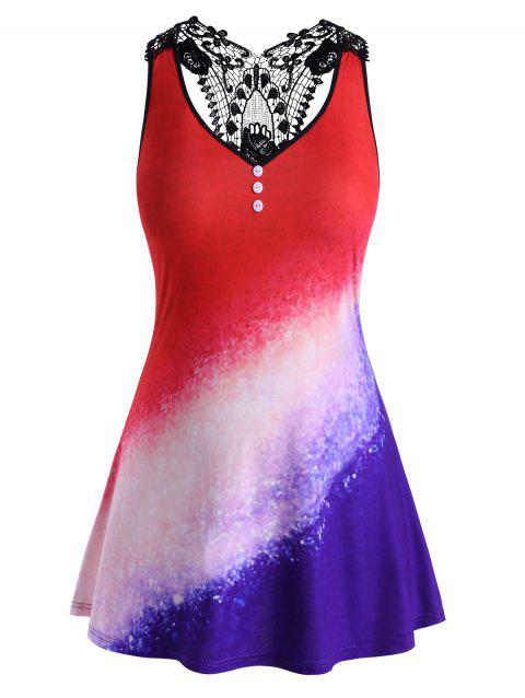 Galaxy Printed Lace Panel Mock Buttons Plus Size Tank Top