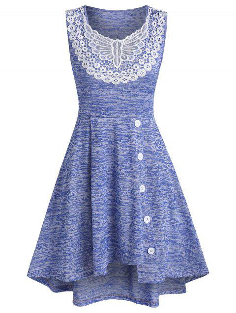 Space Dye Print Asymmetric Butterfly Lace Insert Dress