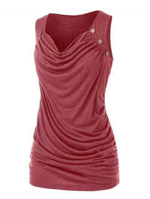 Plus Size Mock Button Ruched Draped Tank Top
