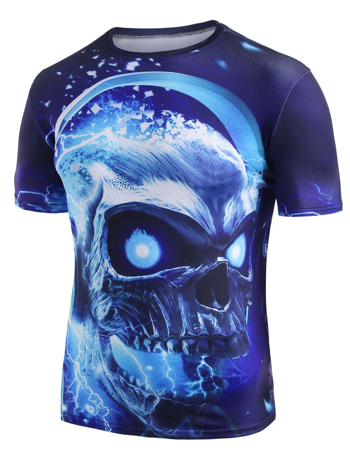 Skull With Headphone Graphic Crew Neck Casual T Shirt - DODGER BLUE 2XL