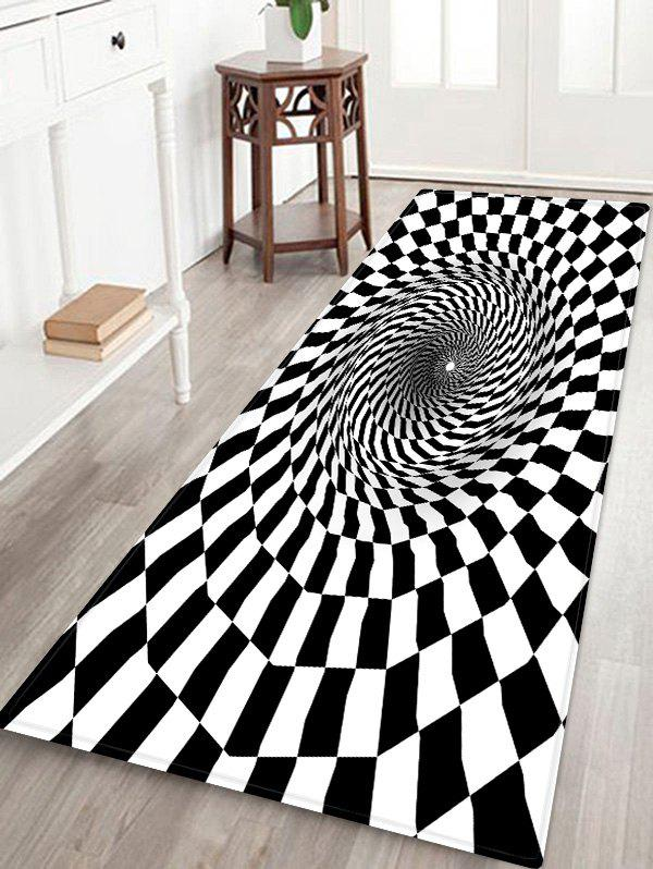 Tapis Absorption d'Eau Motif de 3D Trou à Carreaux - multicolor W24 X L71 INCH