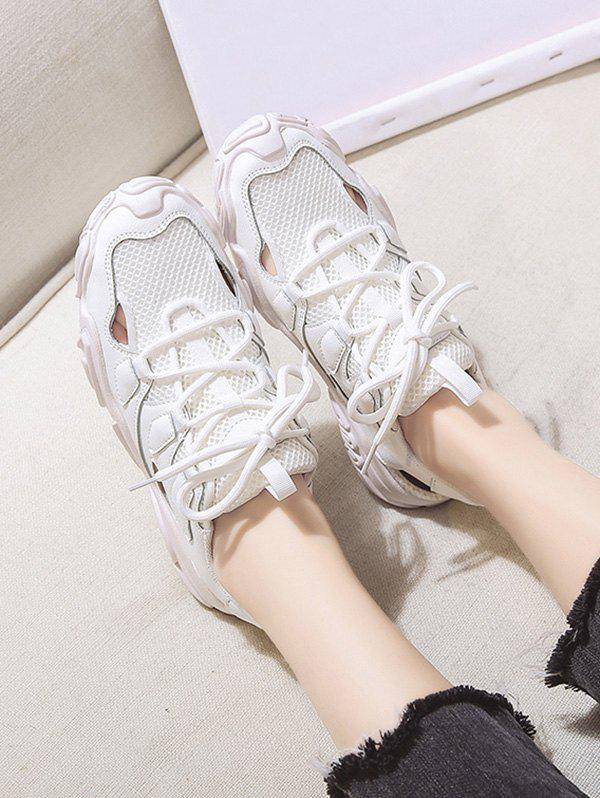 Patchwork Mesh Lace Up Sports Sandals - BEIGE EU 38