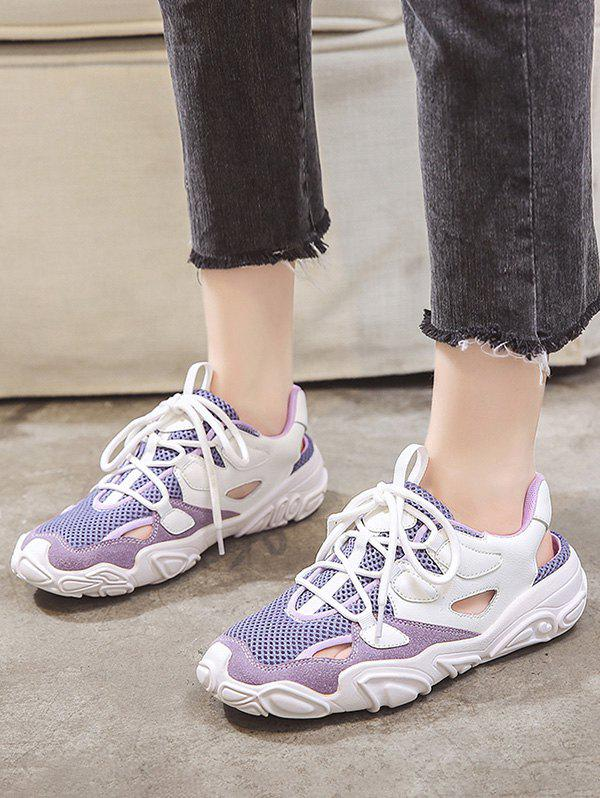 Patchwork Mesh Lace Up Sports Sandals - PURPLE AMETHYST EU 40