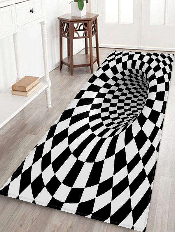 3D Plaid Hole Pattern Water Absorption Area Rug - multicolor W24 X L71 INCH