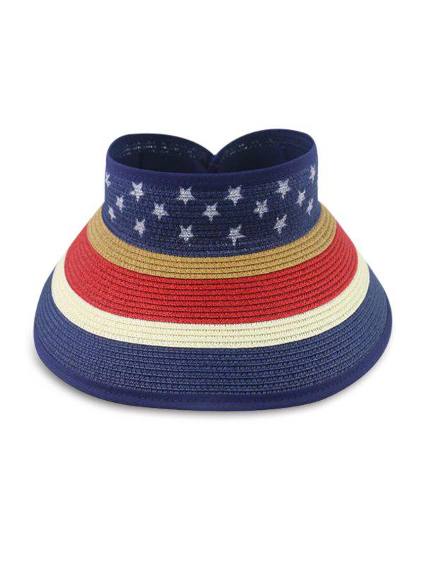 Star And Striped Foldable Visor Straw Hat - BLUE