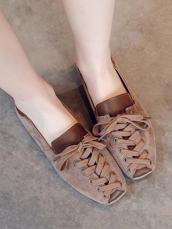 Leisure Lace Up Patchwork Flat Shoes - BROWN EU 40