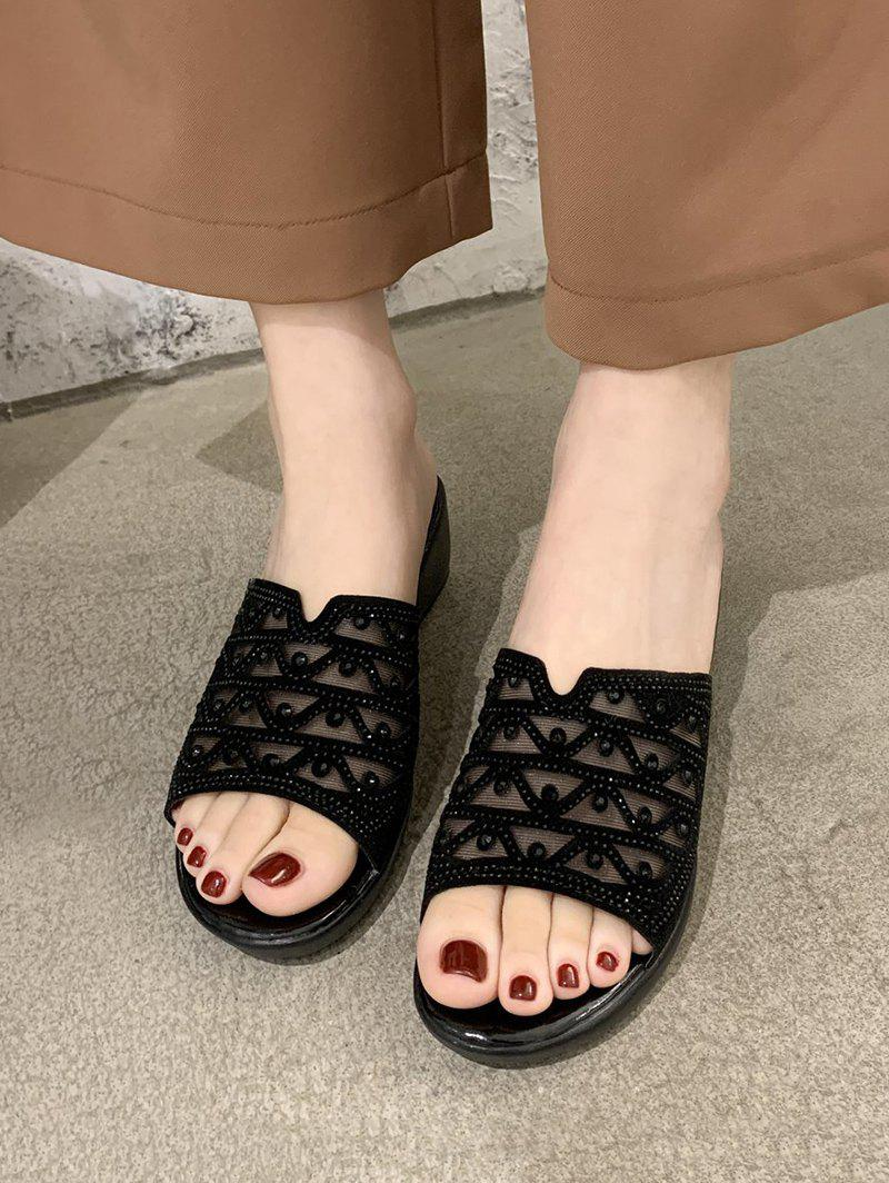 Mesh Geometric Rhinestone Wedge Slides Sandals - BLACK EU 39