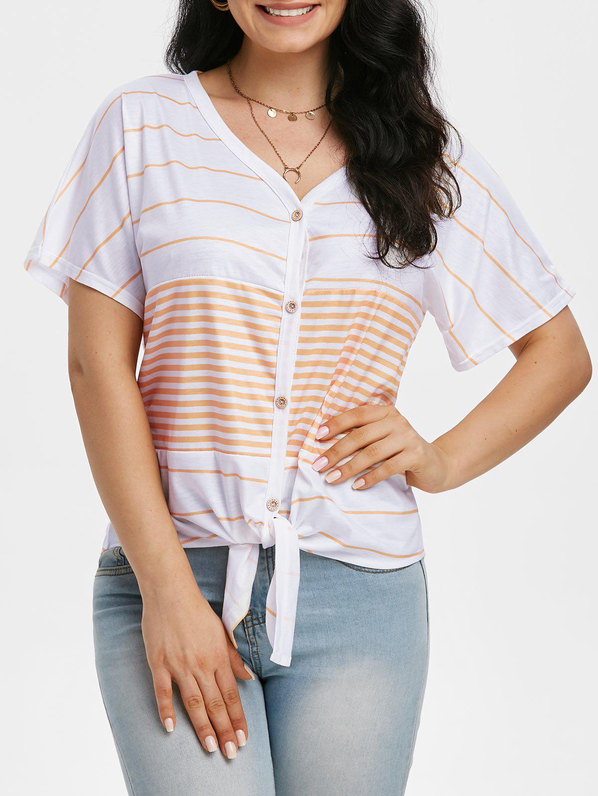 Striped Knotted Button Front Tunic Raglan Sleeve Tee - LIGHT ORANGE XL