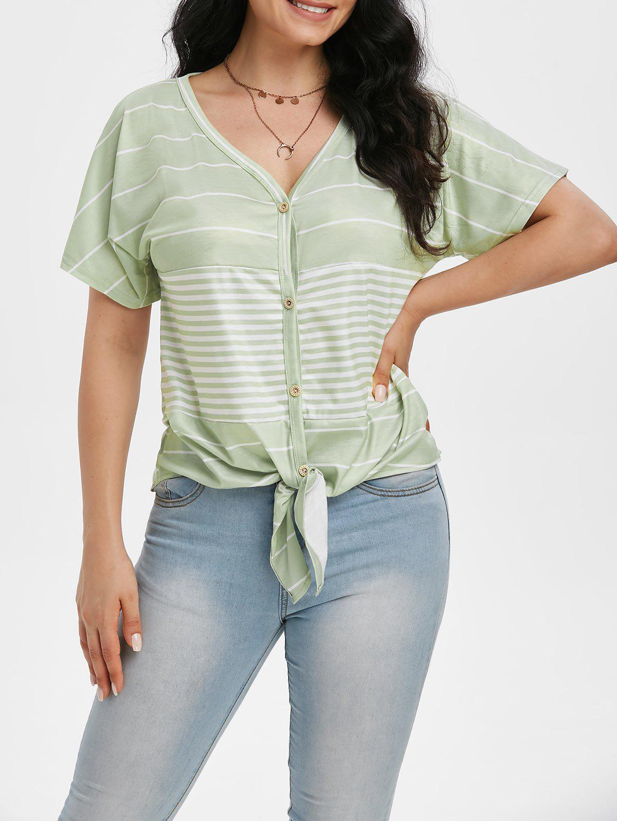 Striped Knotted Button Front Tunic Raglan Sleeve Tee - LIGHT GREEN XL