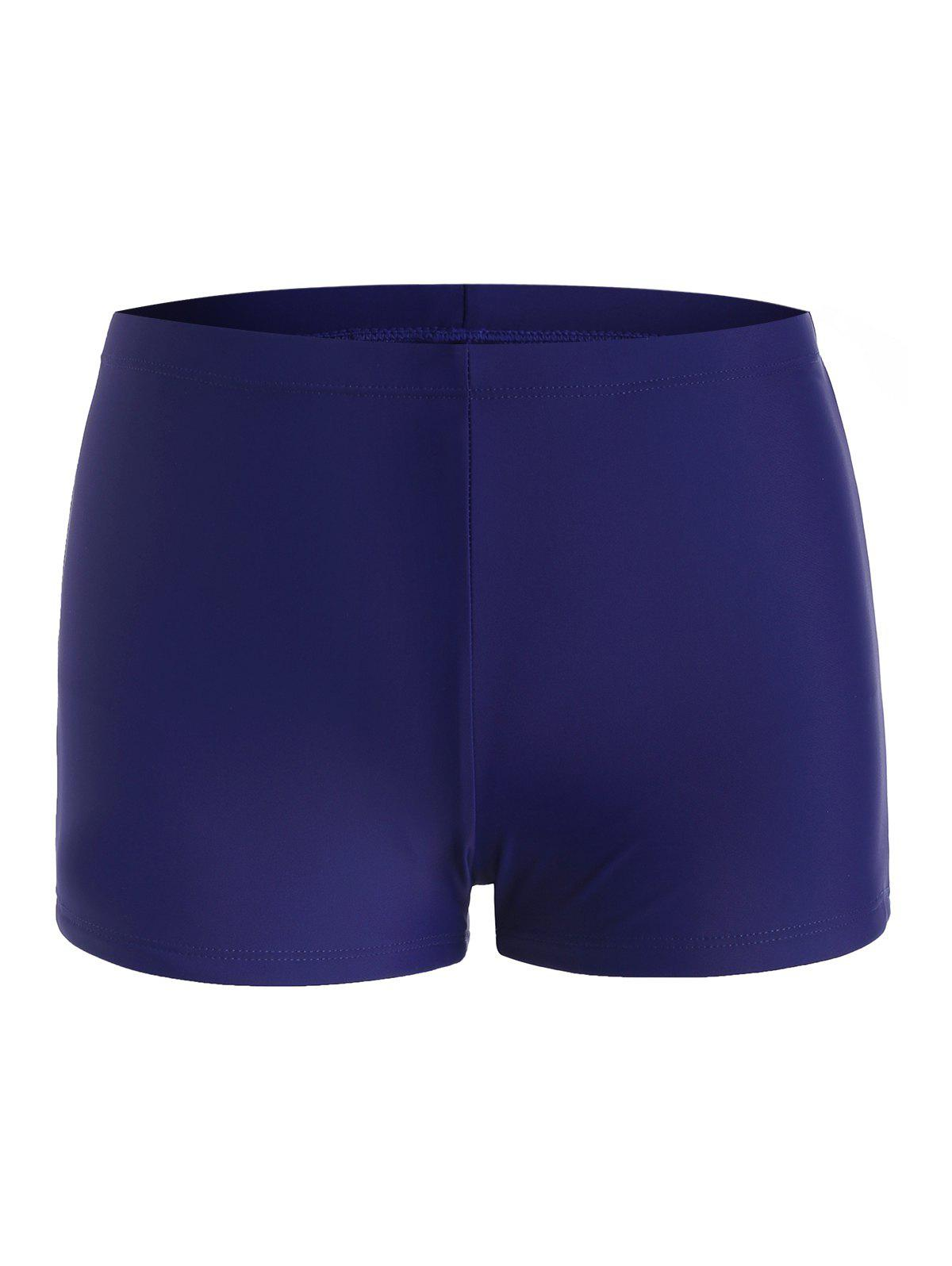 Mid Rise Plain Swim Shorts - DEEP BLUE M