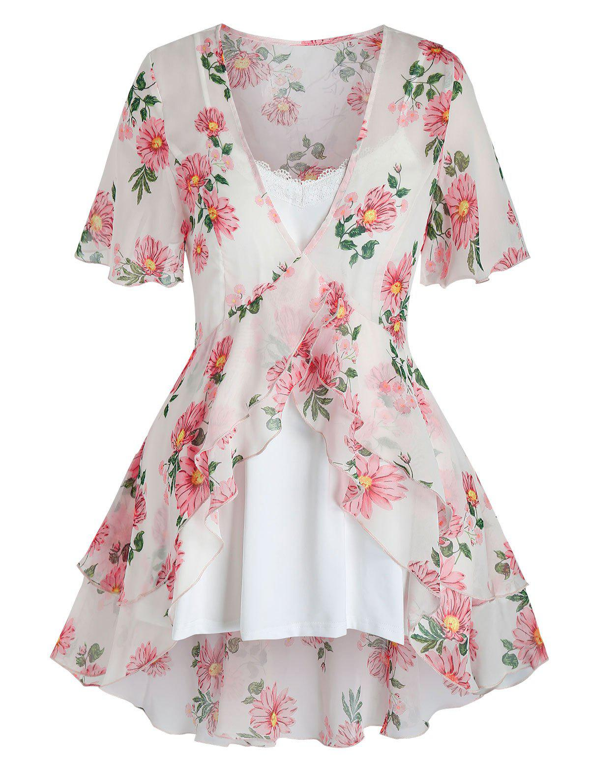 Plus Size Flower Sheer Flounce Blouse and Cami Top Set - WHITE 5X