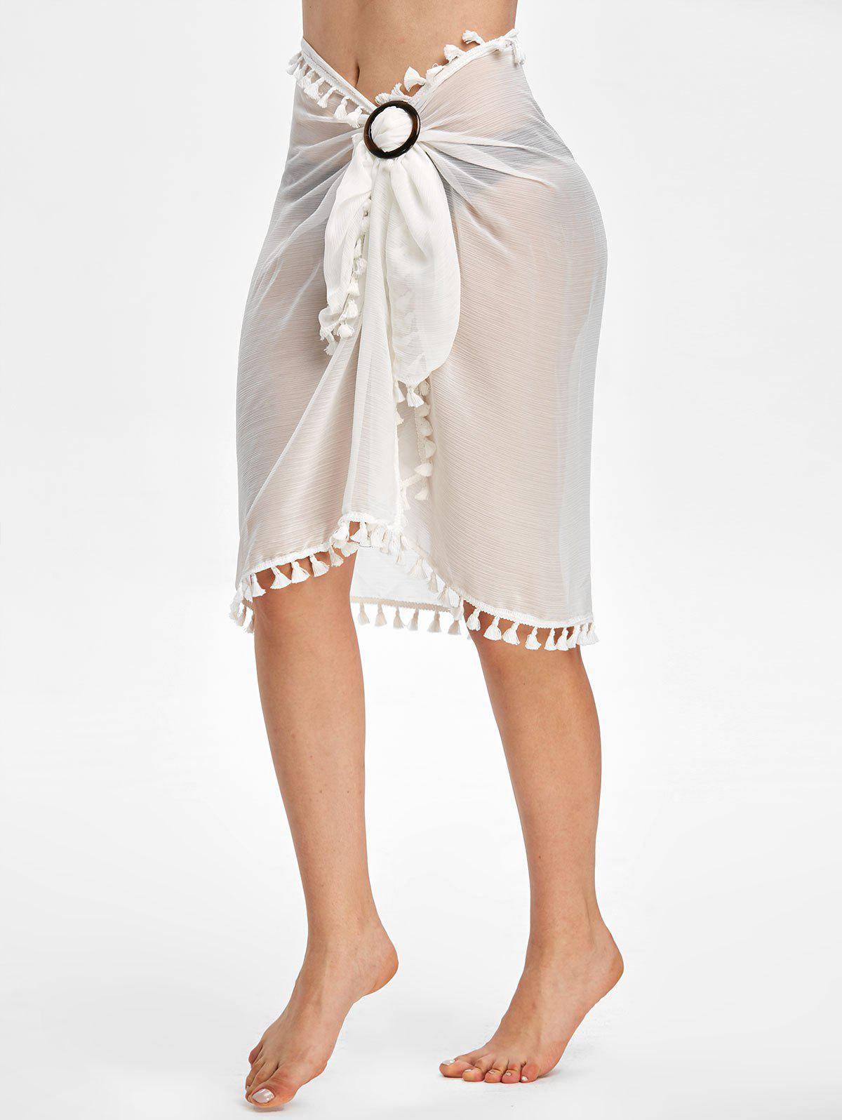 Tassel See Thru Wrap Sarong Cover Up Skirt - WHITE ONE SIZE