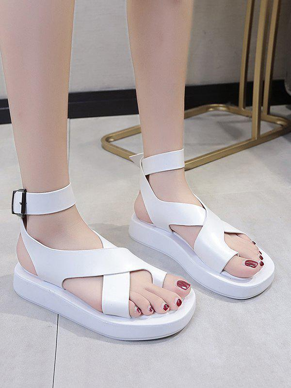 Toe Loop Cross Ankle Strap Platform Sandals - WHITE EU 38