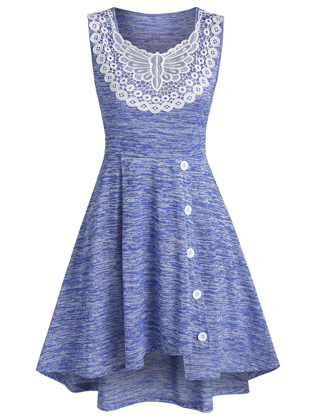 Space Dye Print Asymmetric Butterfly Lace Insert Dress - LIGHT SLATE BLUE M