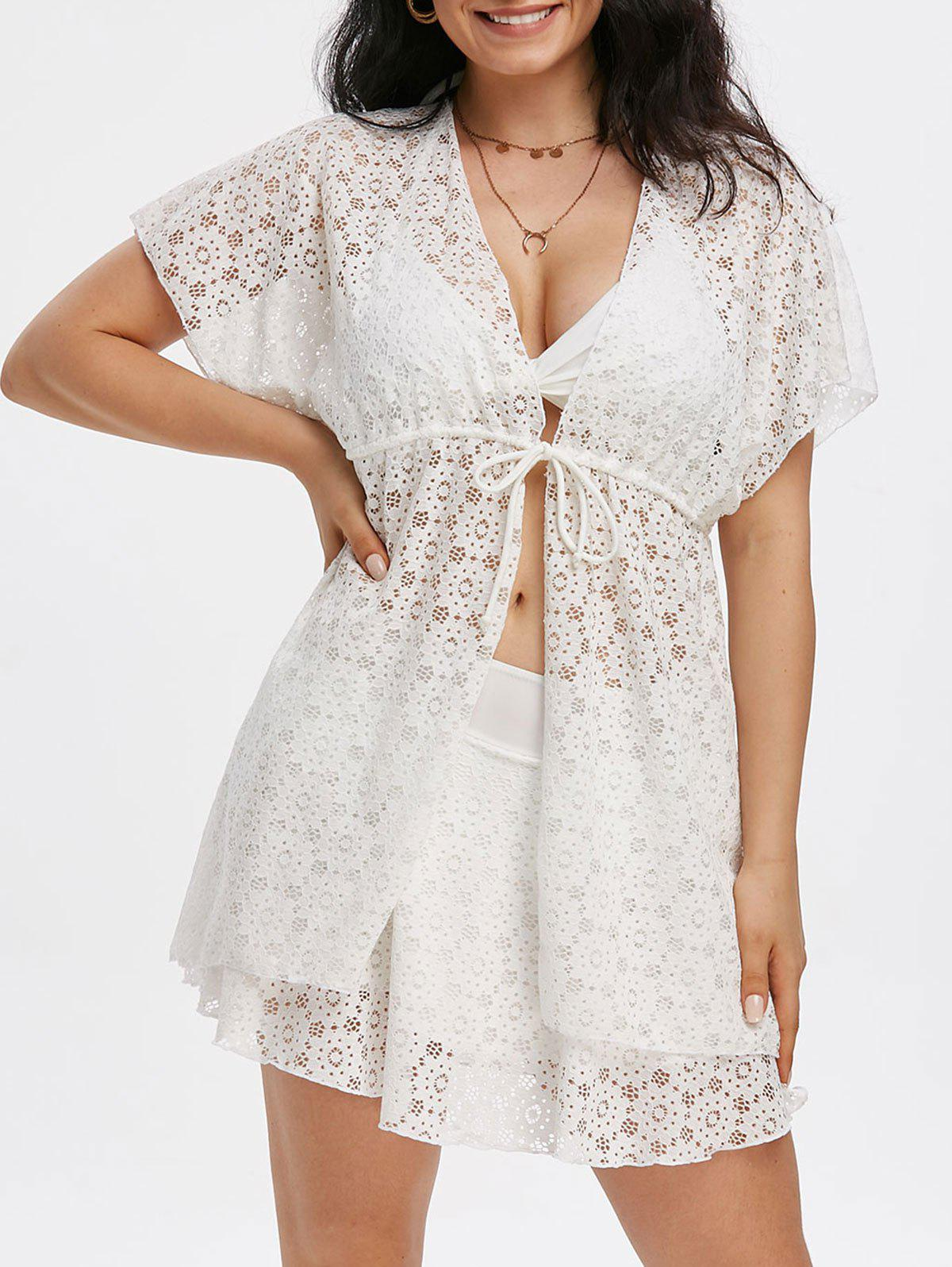 3 Piece Padded Lace Swimsuit Bra Skirt and Cover Up - WHITE L