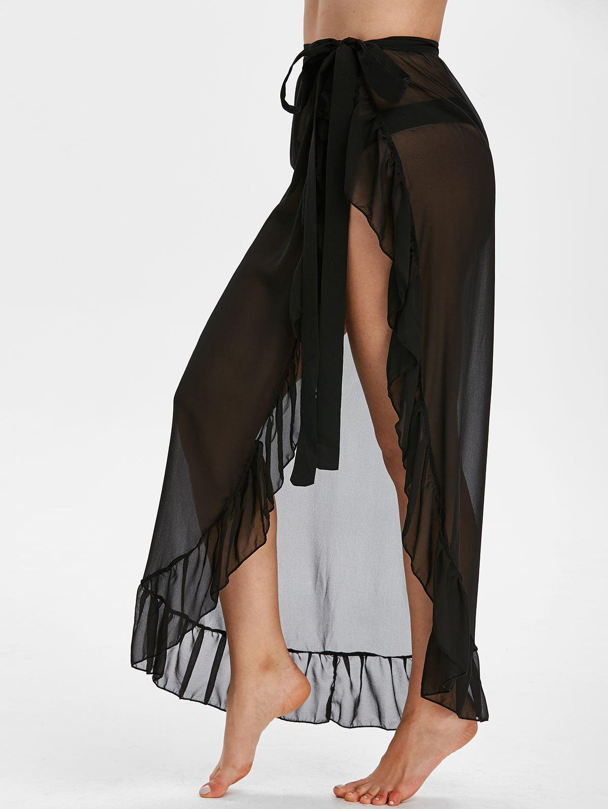 Ruffle Sheer Chiffon Sarong - BLACK ONE SIZE