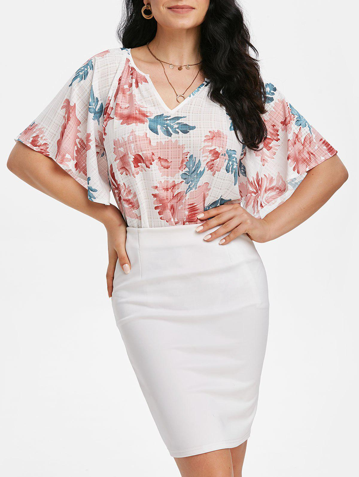 Flower Print Raglan Sleeve Tunic Blouse - WHITE M