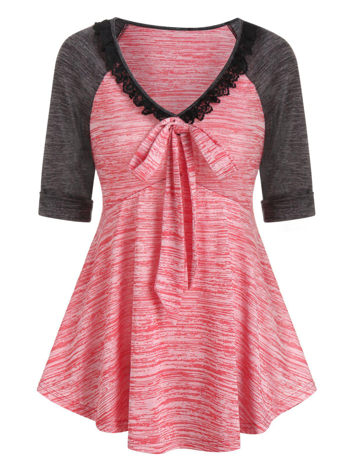 Contrast Space Dye Print Lace Insert Bowknot T-shirt - VALENTINE RED 3XL