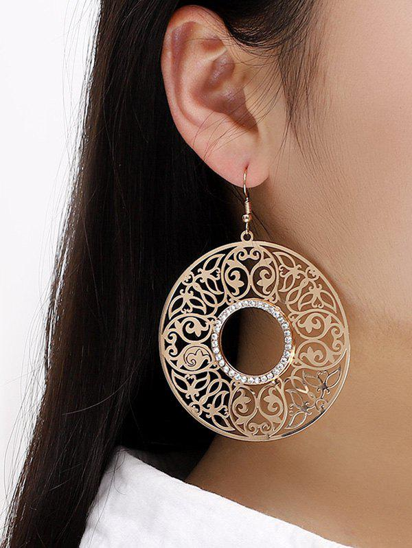 Alloy Hollow Out Round Drop Earrings - GOLDEN