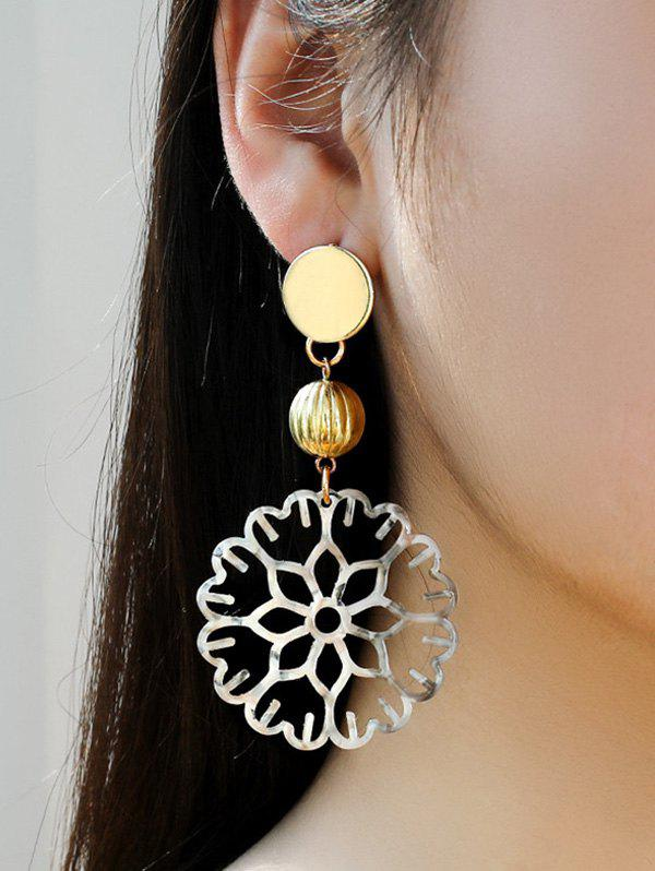 Hollow Out Floral Dangle Earrings - GOLDEN
