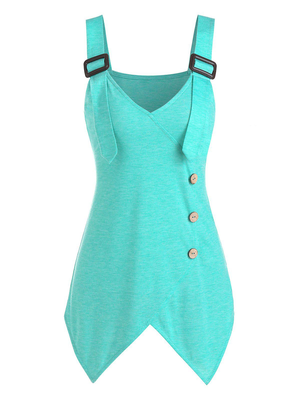 Buckle Strap Mock Button Handkerchief Tank Top - MEDIUM TURQUOISE L