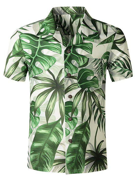 Tropical Leaf Print Hawaii Pocket Short Sleeve Shirt - multicolor M