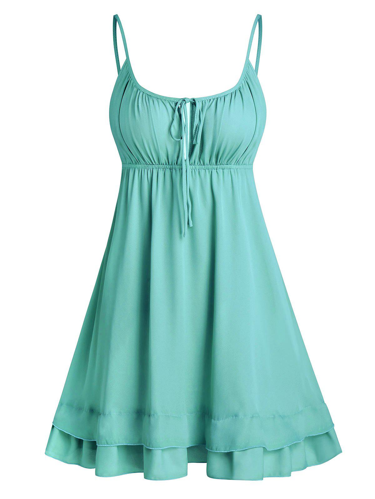 Open Back Tie Knot Flare Cami Dress - MEDIUM TURQUOISE 3XL