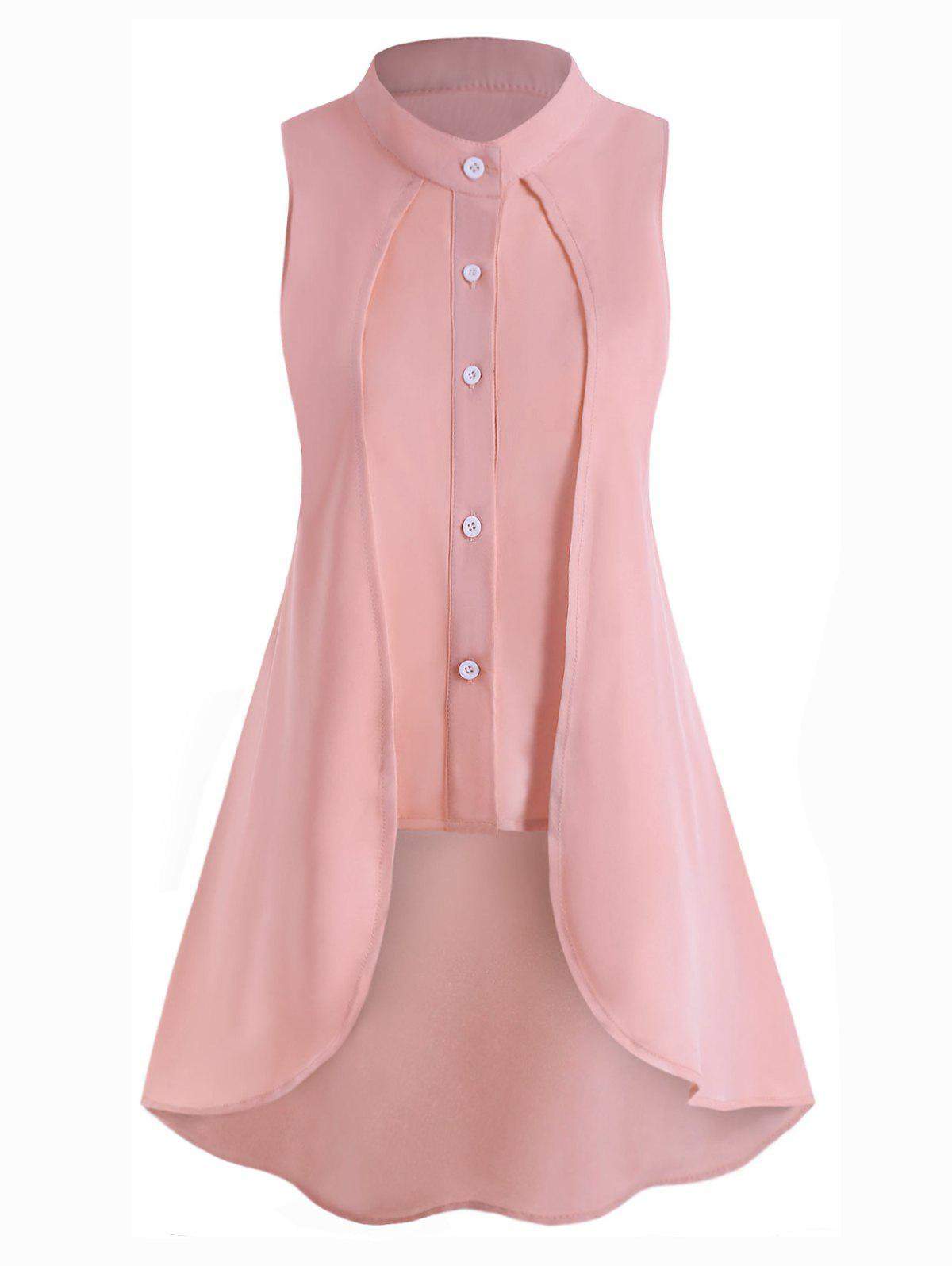Plus Size Overlay High Low Sleeveless Blouse - PINK 1X