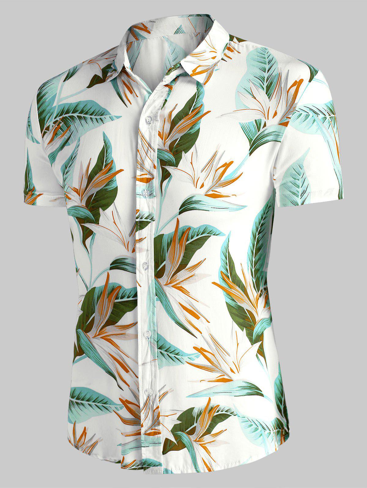 Flower Print Short Sleeve Hawaii Shirt - WHITE M